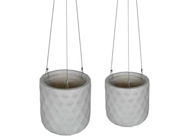 Diamond Hanging Planter White